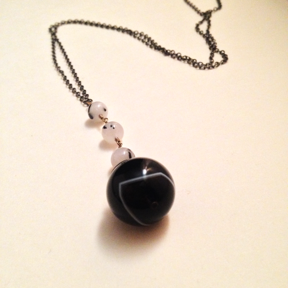 Image of Strength Seeing Stone Black Banded Agate Tourmalated Quartz Natural Gemstone Eye Amulet Necklace