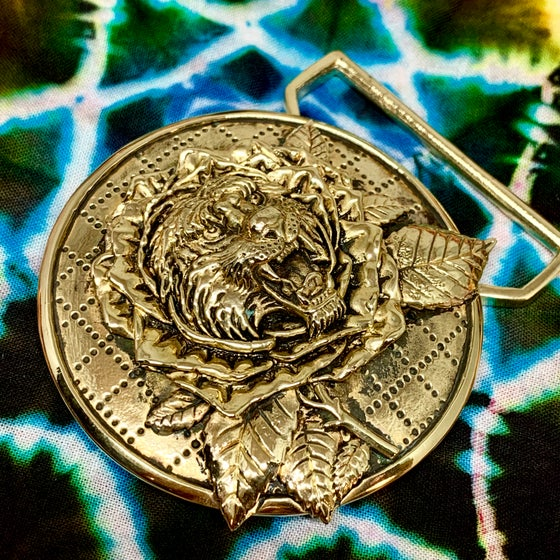 Image of Tiger Rose Buckle Cast in Yellow Brass