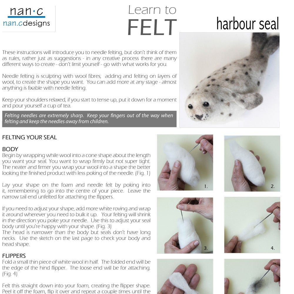 Image of PDF Harbour Seal Felting Instructions