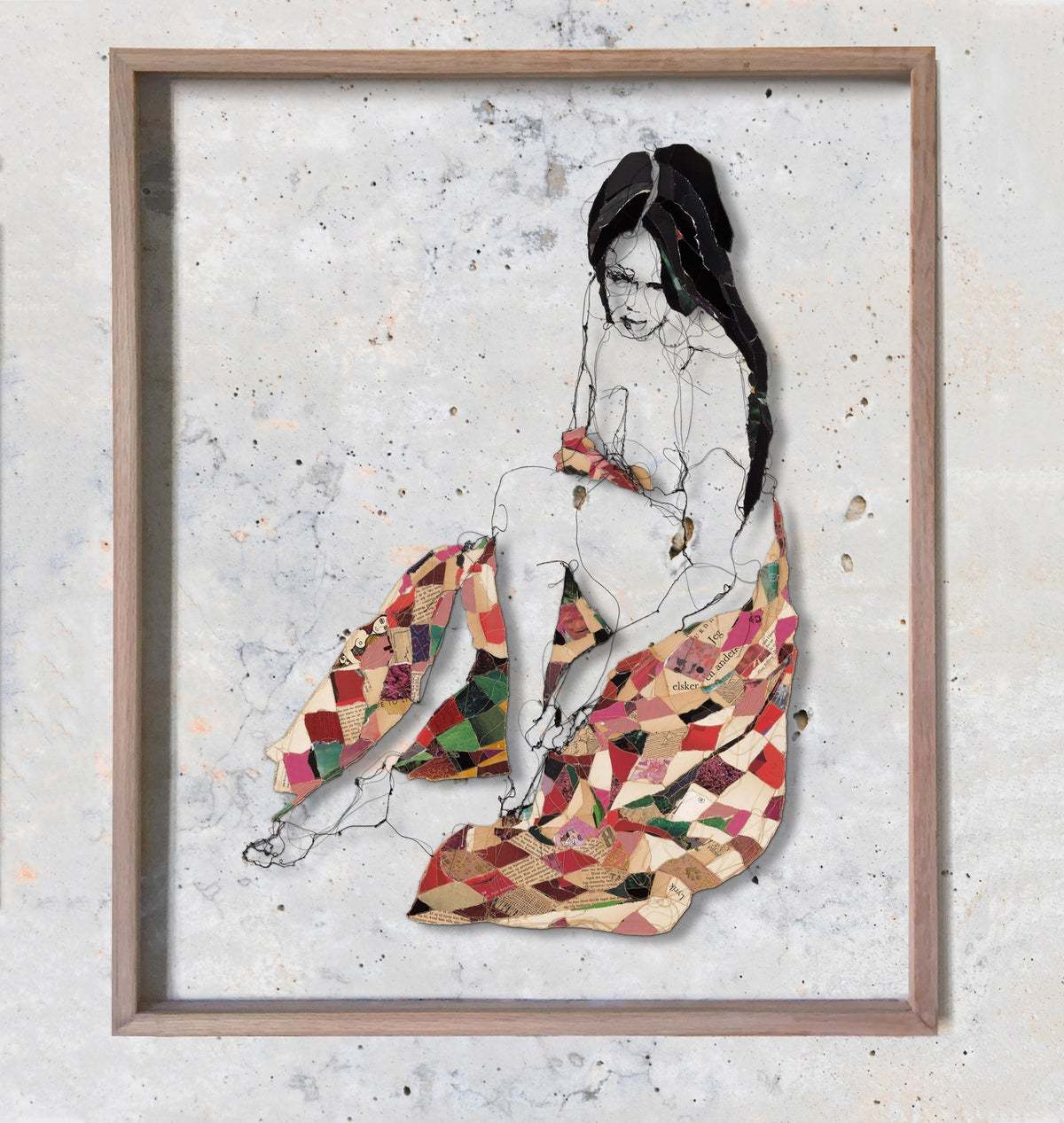 Image of Melancholic woman in red blanket - original