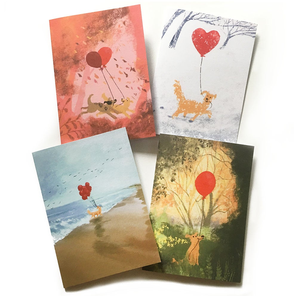 Image of Set of 4 'Woof!' Luxury Greetings Cards