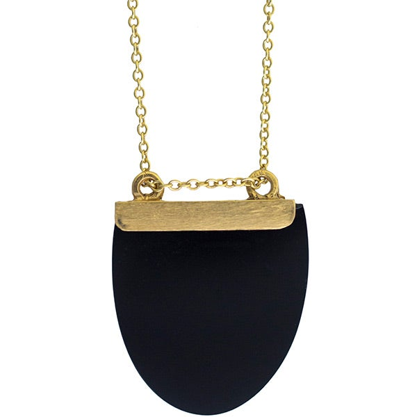 Image of Onyx or Cornelian and gold-plated silver Luna necklace (C13)