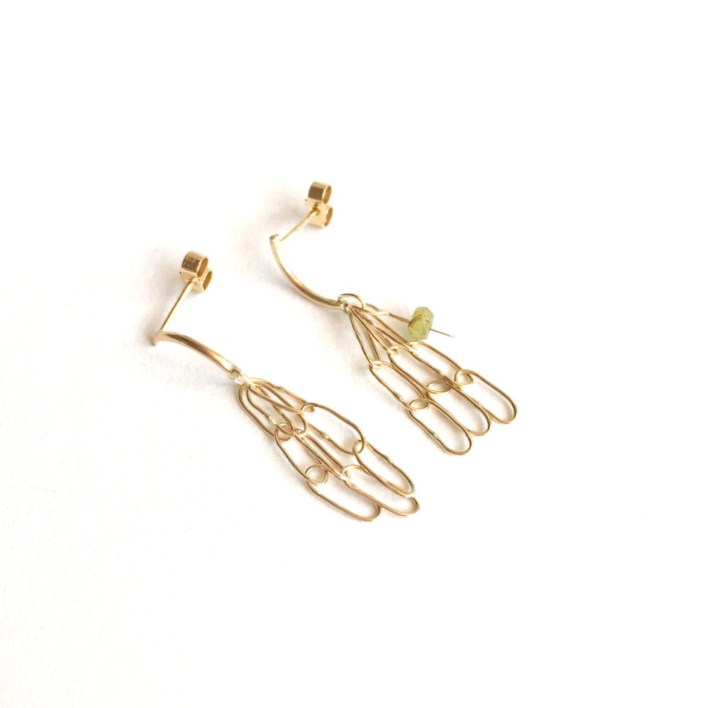 Image of drishti stud earrings 9ct yellow gold- 3 link