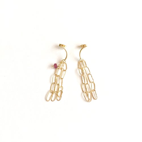 Image of drishti stud earrings 9ct yellow gold- 5link