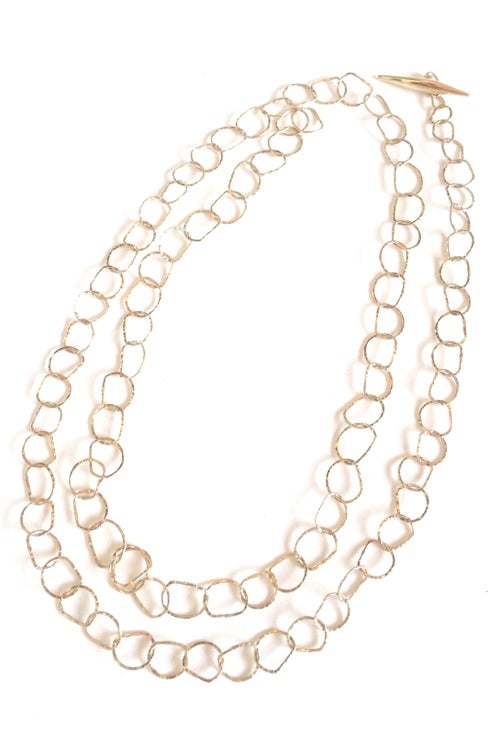 Image of Afiok necklace single length 9ct yellow gold- long