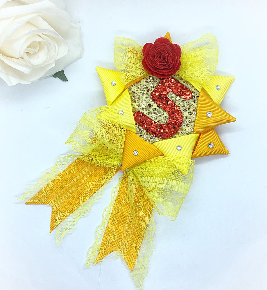 Image of Princess Birthday Rosette (yellow, gold & red)