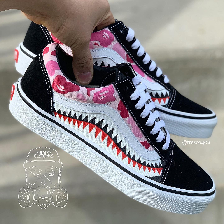 Custom Pink Bape Camo Vans | Fresco Customs