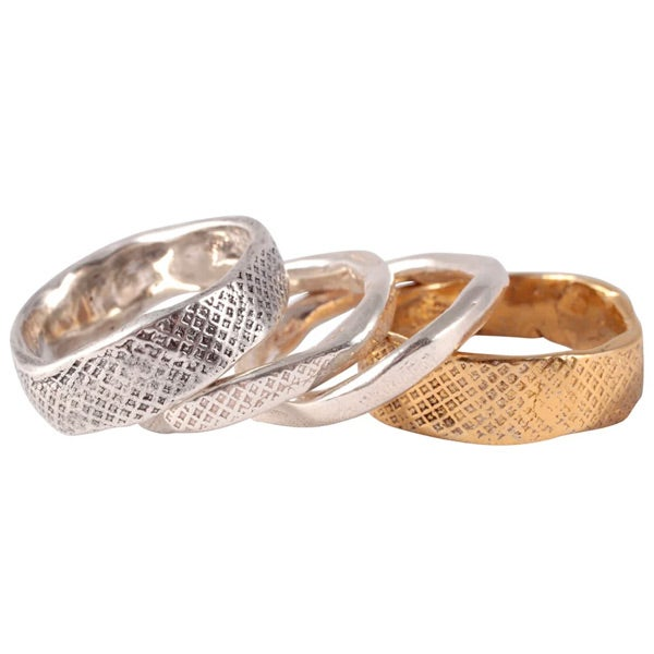 Image of Sterling silver or gold-plated silver Jara ring/2 wide version (A13)