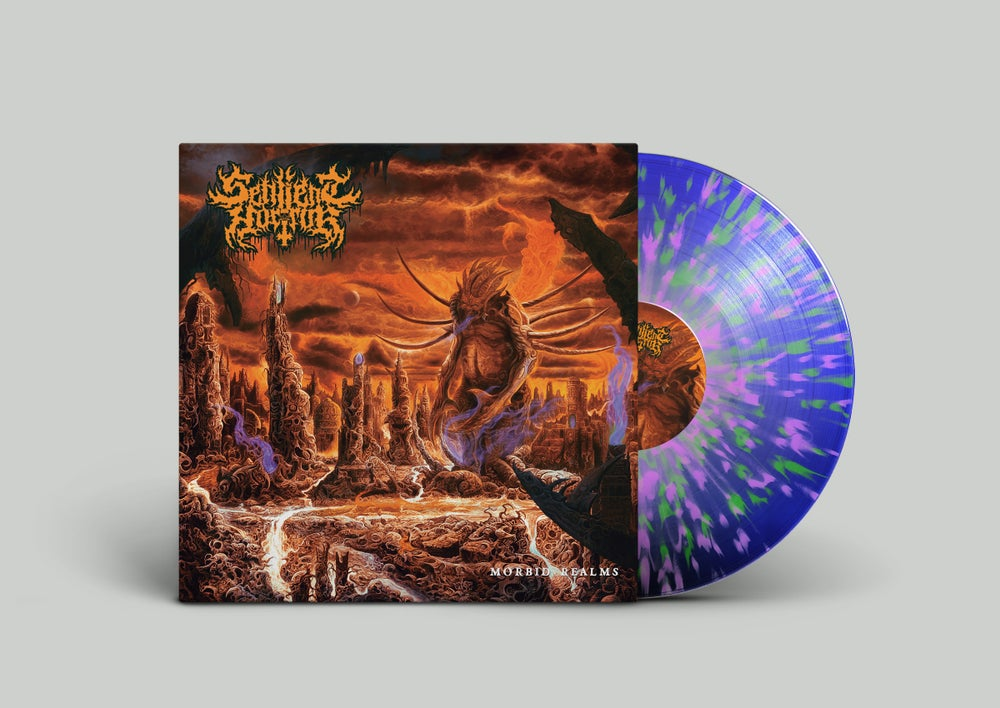 Image of Sentient Horror • Morbid Realms (Limited Transparent Blue / Green / Pink Splatter Vinyl)
