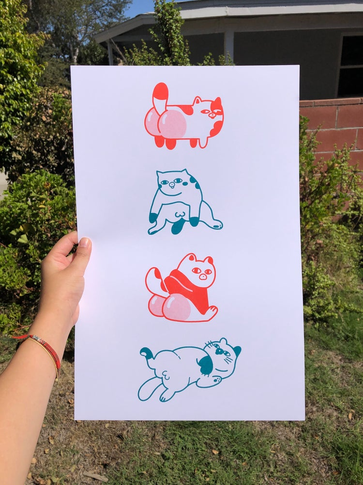 Image of Cats Riso Print