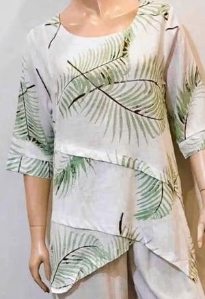 Image of Asymmetrical  Linen/Cotton Top -  Palm