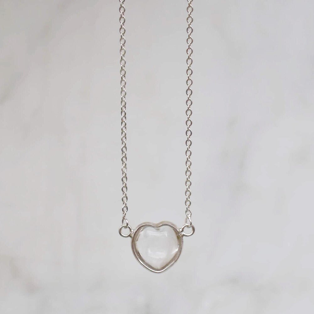 Image of Crystal Heart x Clear Quartz necklce