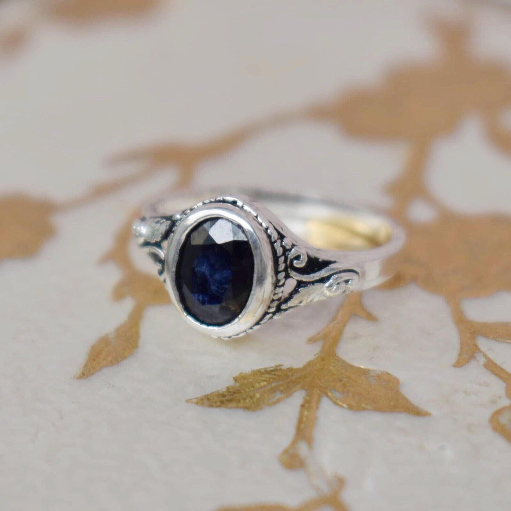 Image of Natural Blue Sapphire vintage style ring