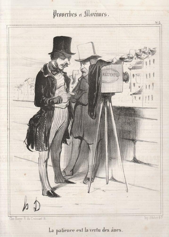Image of Honoré Daumier: Proverbes et Maximes 'La patience est la vertu des ânes', 1840