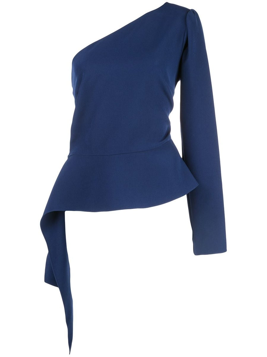 Image of One Shoulder Peplum Top