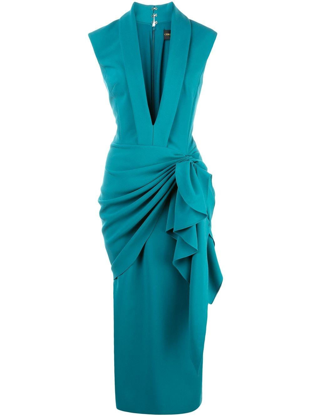 Image of Deep V-Neck Side Ruched Dress