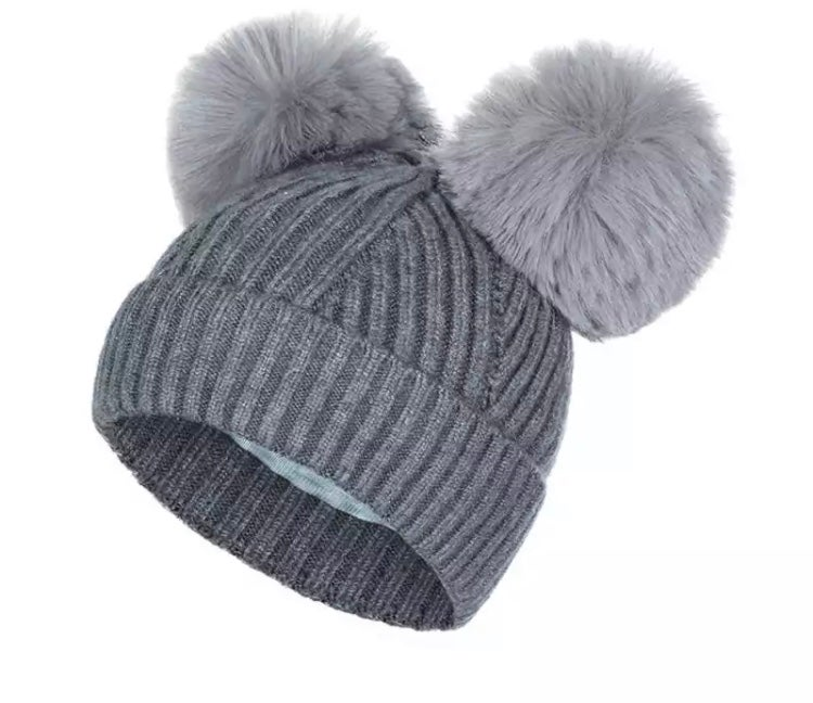 Image of Soft double pompom knit hat