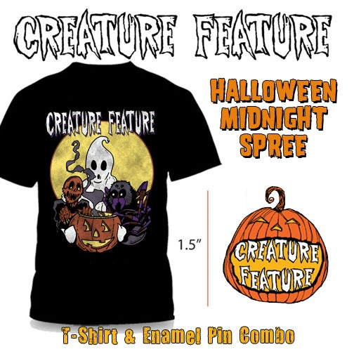 Image of Halloween 'Midnight Spree' T-shirt & Enamel Pin Combo