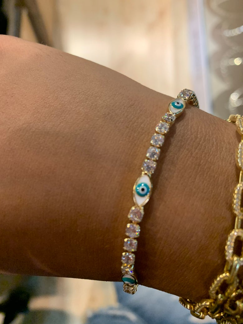 Image of Diamond evil eye tennis bracelet (comes in a choker too below)