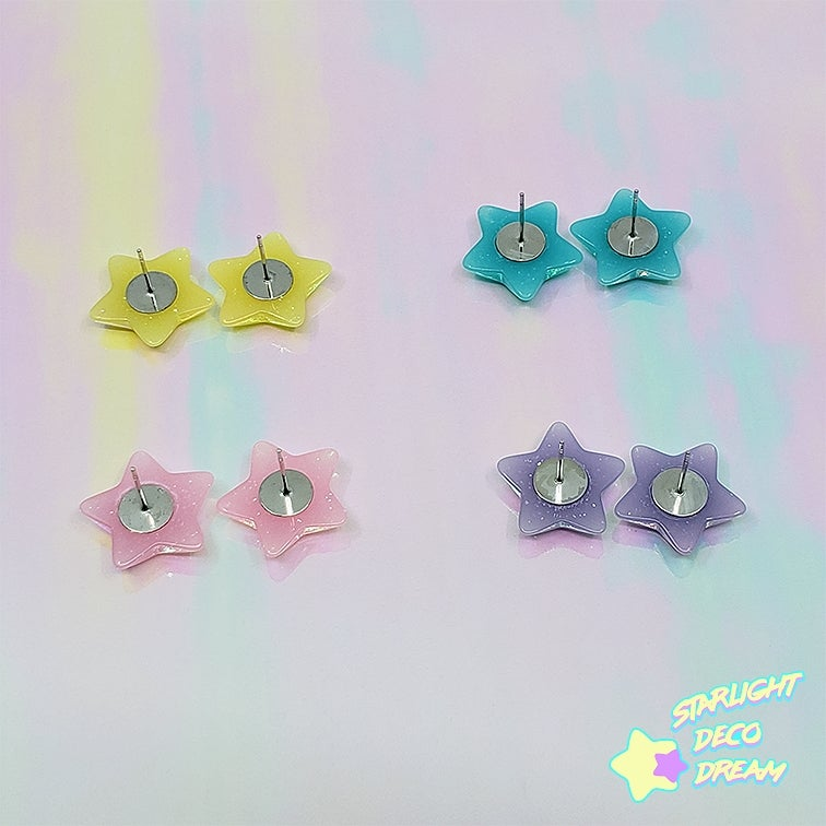 Image of Glitter Star Stud Earrings / Choose a Colour