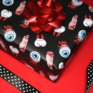 Image of Luxury horror gift wrap - extracted tooth, severed finger & detached eyeballs - a2 gift wrap
