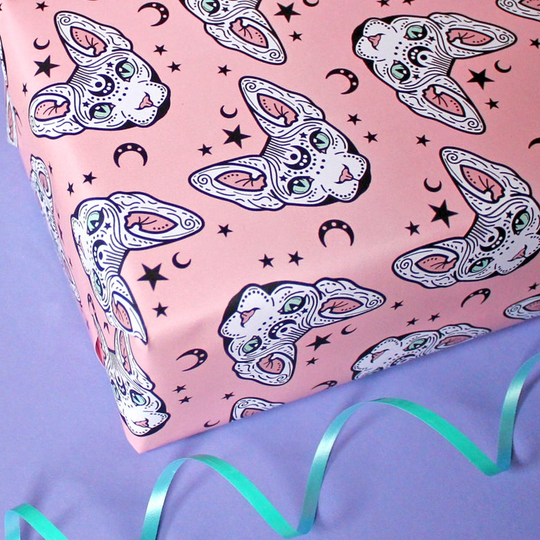 Image of Luxury Mystical Sphynx Cat wrapping paper - sphynx cat - witchy -  a2 gift wrap sheets