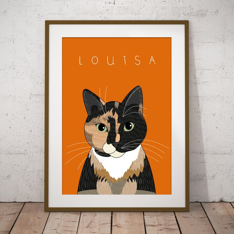 Image of Gift for pet lovers. Custom pet portrait. Pet memorial. Cats or Dogs.