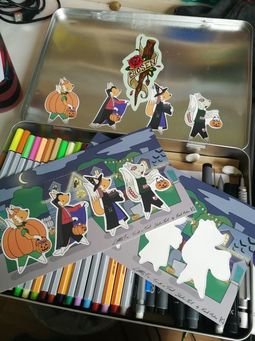 Image of Little Fox Trick or Treat sticker pack.