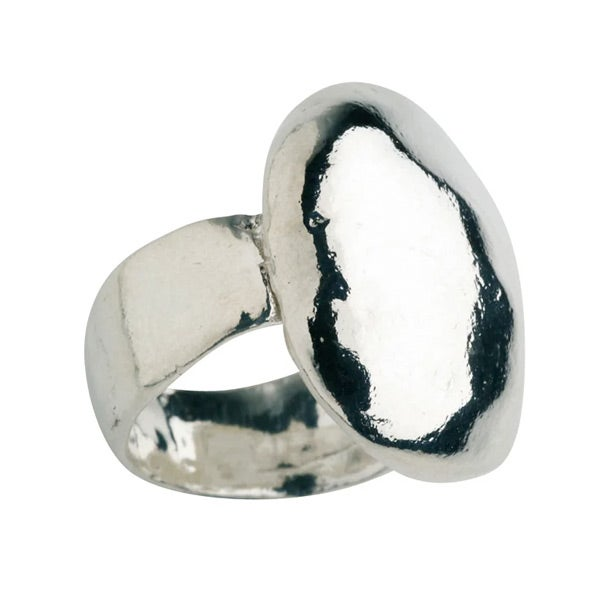 Image of Unusual silver pebble ring