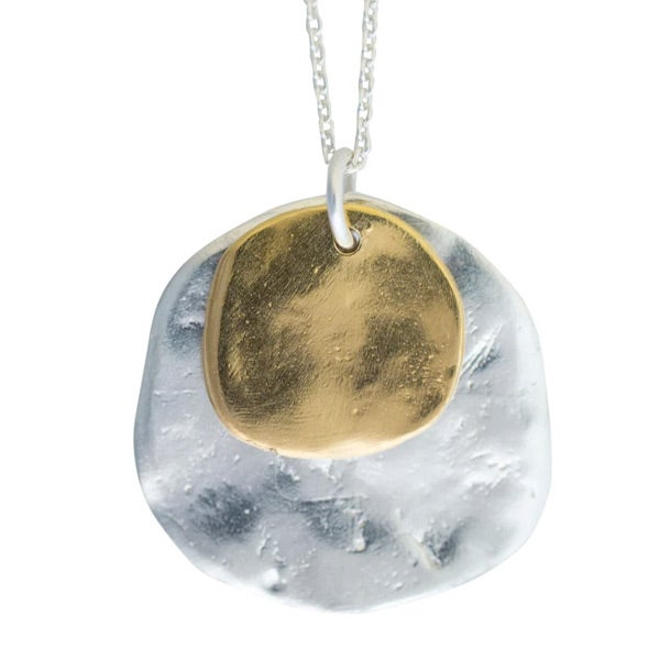 Image of Sterling silver or gold-plated silver Ibiza double disc necklace (C5)