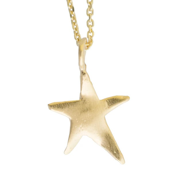 Image of Sterling silver or gold-plated silver Ziggy star charm necklace (C4)