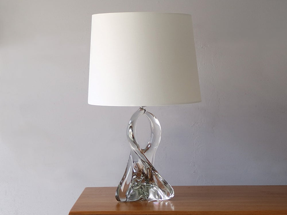 Image of 1960's French fluid, twisted crystal table lamp in the style of Jean Daum