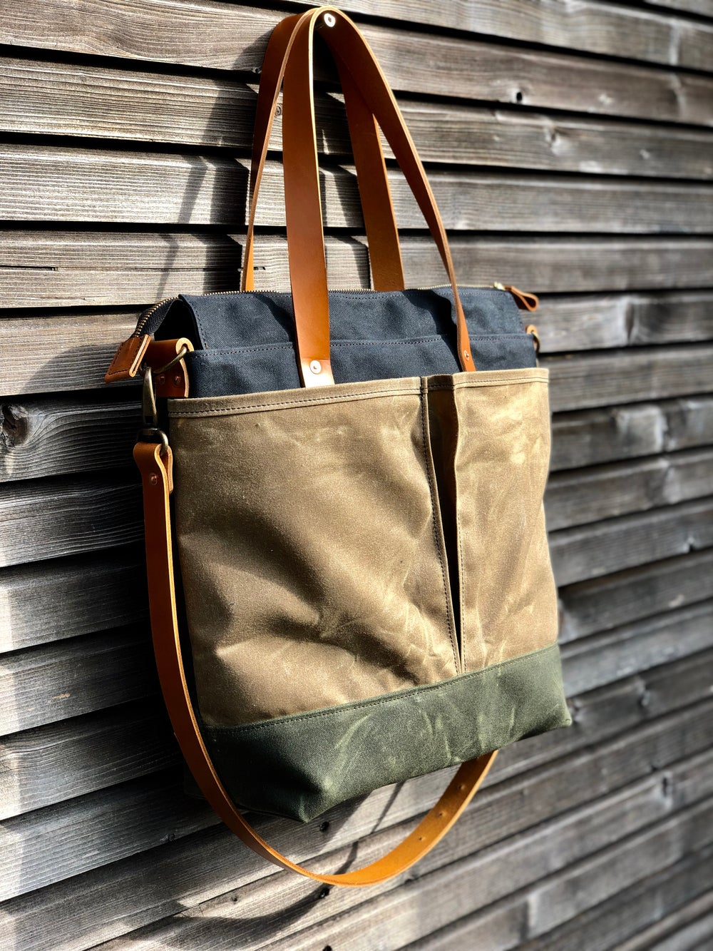 Image of Waxed canvas tote bag / office bag with leather handles and shoulder strap