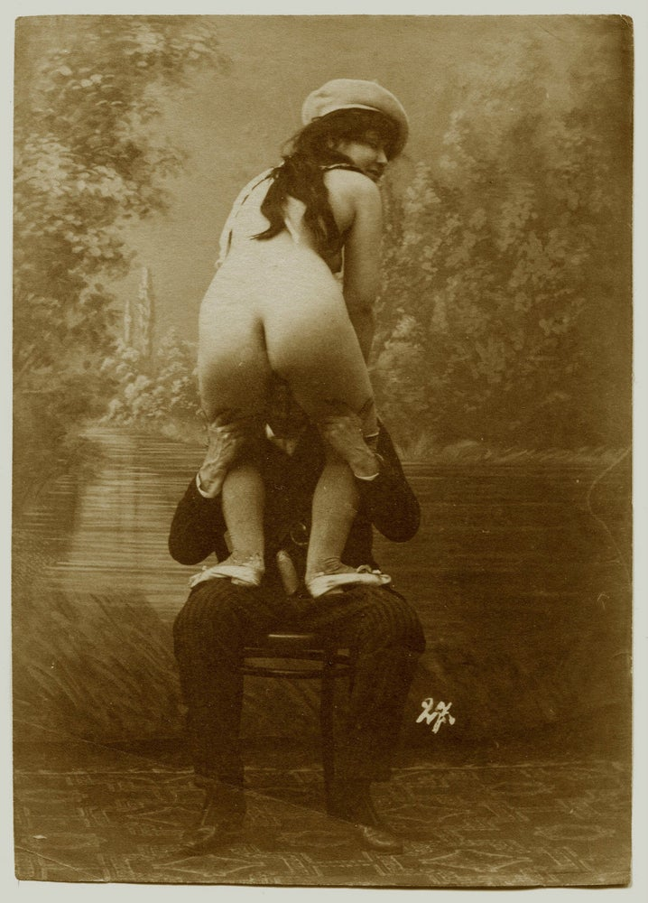 Image of Anonymous: erotic scene with naked woman and a man in a suit, ca. 1880