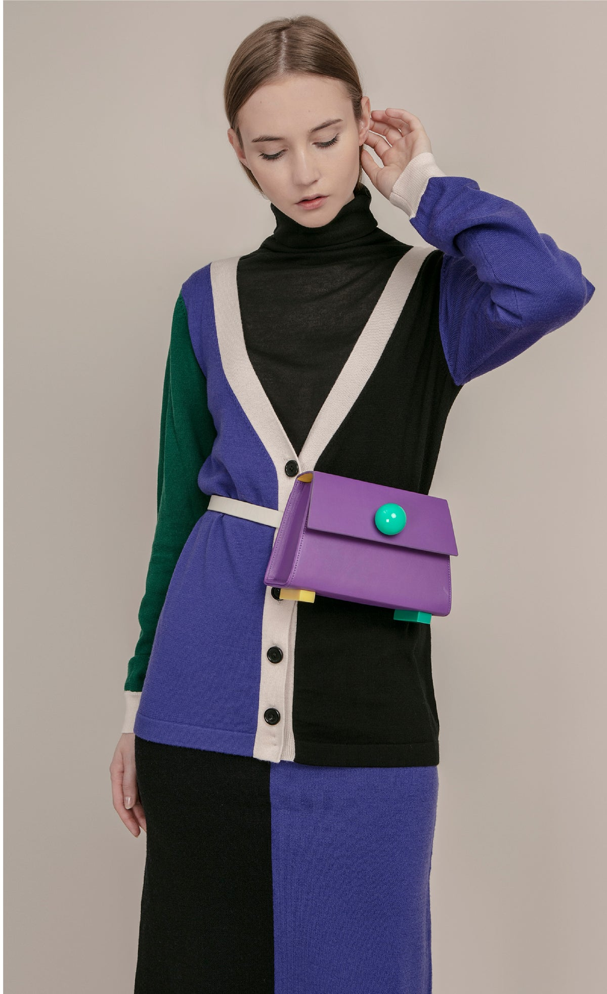 Image of Reversible V Neck colourblock button back wool cardigan _ Green and Purple