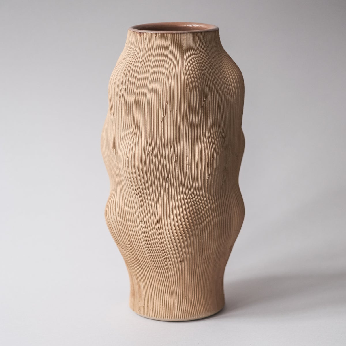 Image of FLUTED KUNST VASE IN YELLOW STONEWARE, GLAZED INTERIOR- RAW EXTERIOR