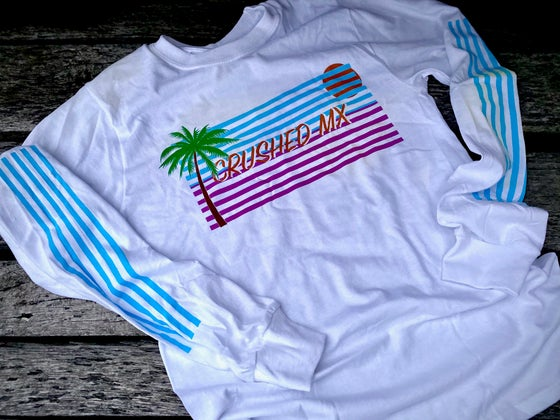 Image of White Palm Tree Long Sleeve Crushed MX Shirt