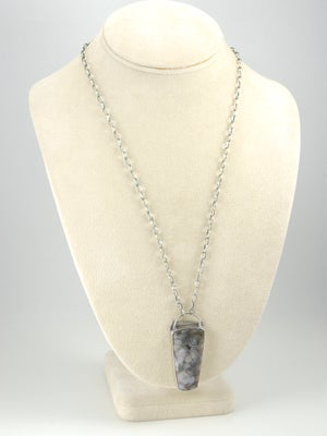 Image of Orbicular Agate with Druzy, Sterling Silver Necklace, One of a Kind, Artisan Made
