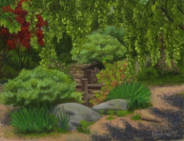 """Image of """"Japanese Garden at Fletcher Park"""" Original Oil Painting by lynn buckner"""