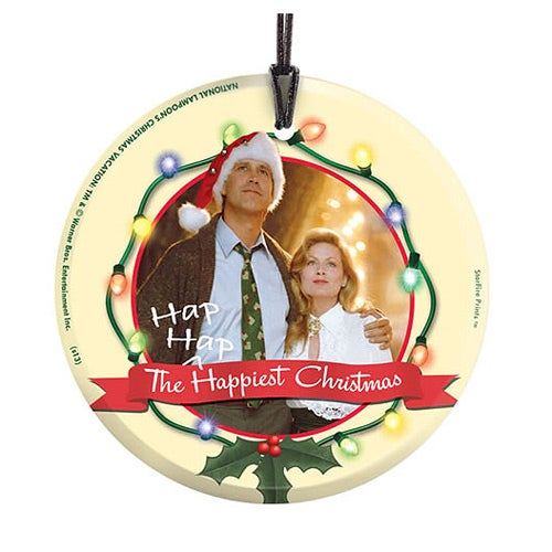 Image of National Lampoons Christmas Vacation Clark and Ellen StarFire Prints Hanging Glass Print
