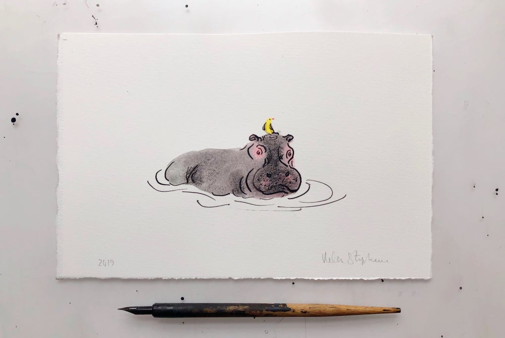 Image of Hippo and Bird