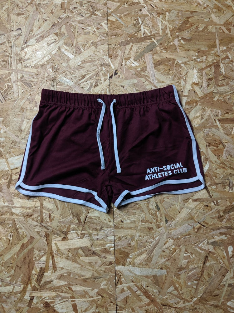 Image of Women's Retro P.E. Shorts - Burgundy / White