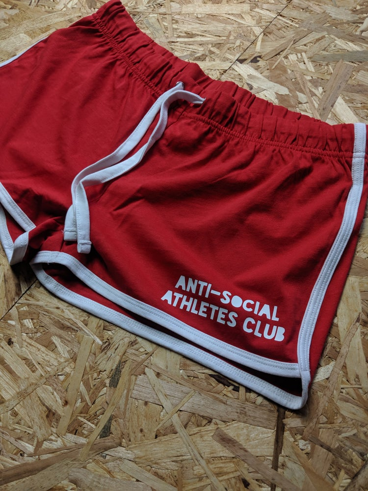 Image of Women's Retro P.E. Shorts - Red / White