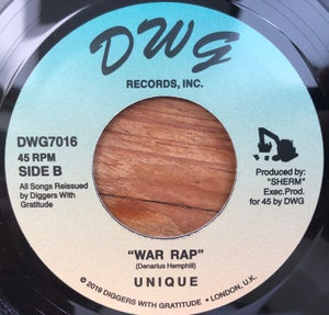 "Image of Unique - Die Hard / War Rap 7"" black vinyl"