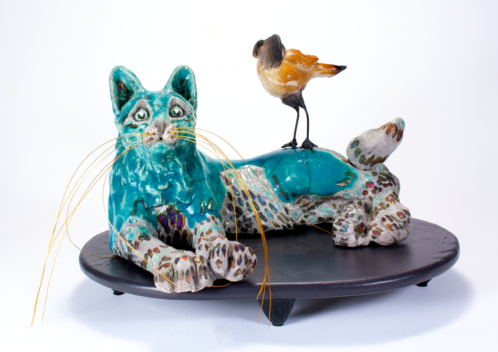 Image of RAKU CERAMIC CAT SCULPTURE - STARGAZING