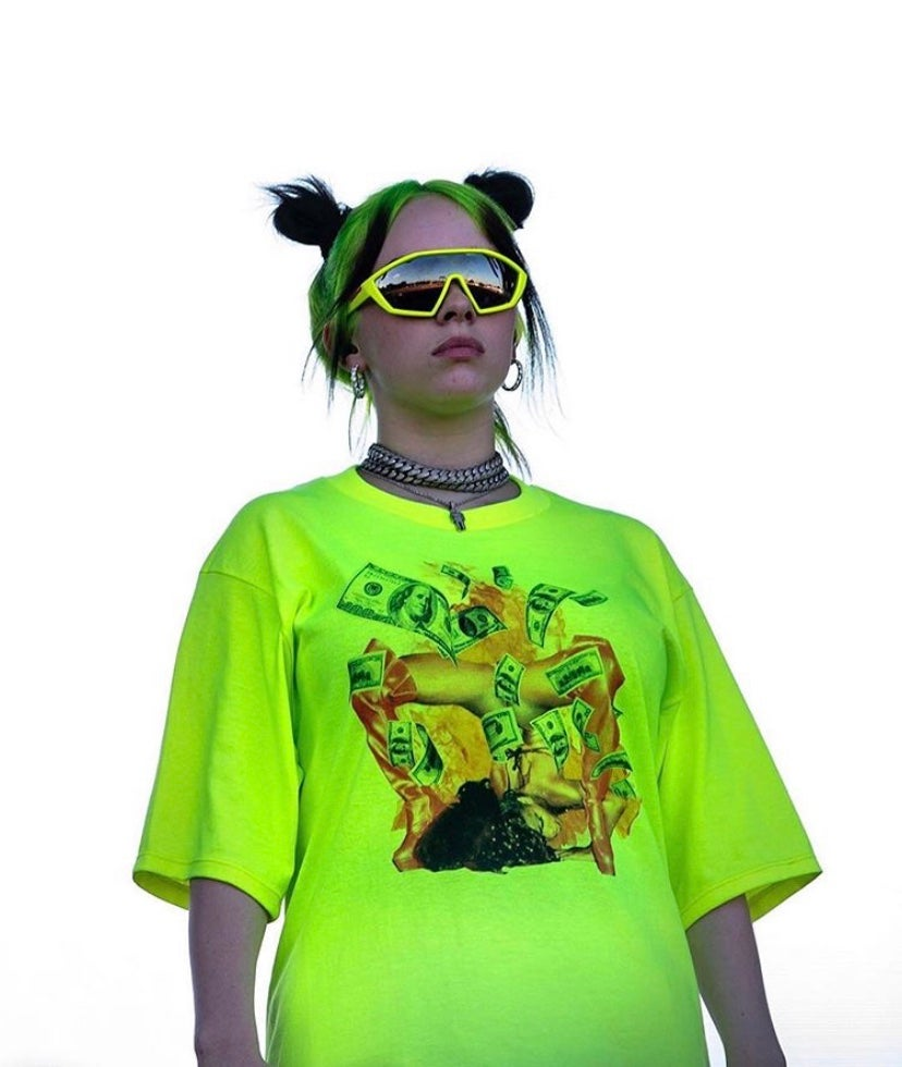 Billie Eilish X Freak City Green Graffiti Hoodie Shorts Setreview Daedalusdrones Com