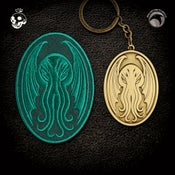 Image of The Skelton Crew Collection: Cthulhu patch & keychain set!