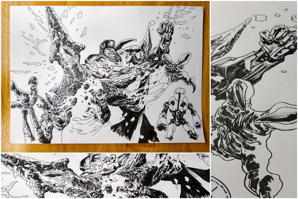 Image of Original ink drawing of Pacific Rim