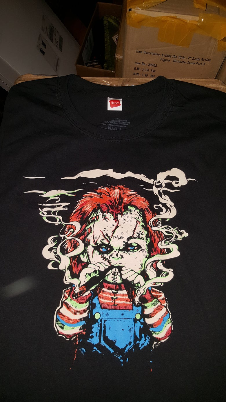 Image of 2 MANY BLUNTS CHUCKY BLAZIN T SHIRT (IN STOCK)
