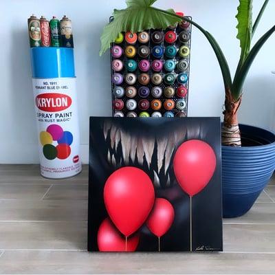 "Image of ""FLOAT 2""  acrylic paint and aerosol on canvas (20x20) ORIGINAL"